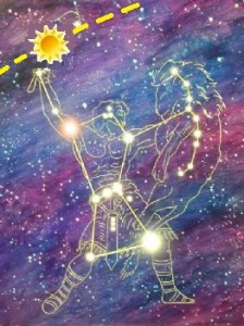 Orion holding the Sun