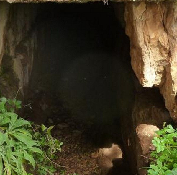 An orb appearing in a cave at Delphi