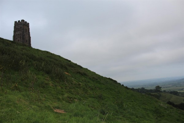 Approaching Glastonbury Tor at dusk