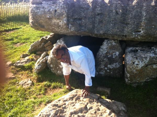 Kal exiting the Birthing Chamber at Lligwy