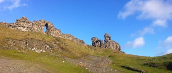 Looking up to Dinas Bran