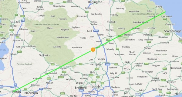 Ley line from Preston to Whitby