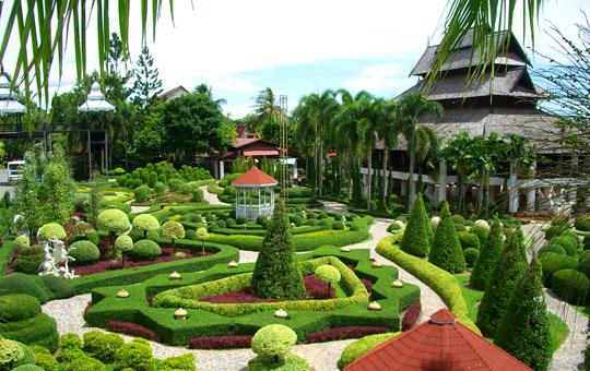 A manicured artificial garden