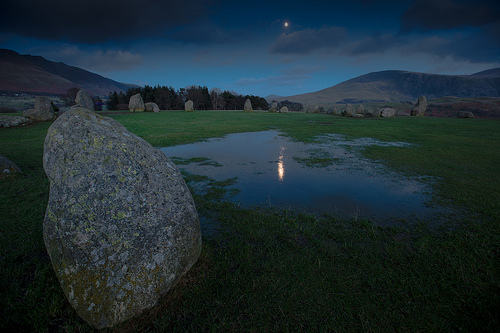 Castlerigg stone circle in moonlight