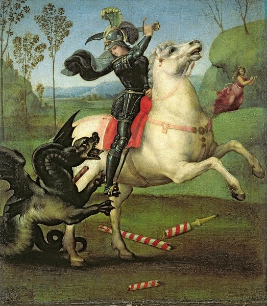 St George fighting the dragon forces